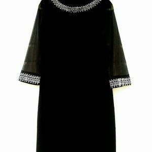 LITTLE BLACK BEADED SHEER SLEEVE EVENING DRESS